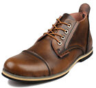 New Mens Fashion Leather Ankle Boots Chukka Lace Up Cap Toe Dress Formal Oxfords