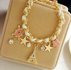 Charm Girl's Crystal Rhinestone Gold/Silver Plated Chain Bangle Bracelet Jewelry