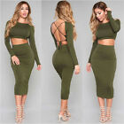 Women Winter Long Sleeve Bodycon Sexy Backless Paray Two Piece Bandage Dress