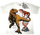 Kids JURASSIC WORLD white short sleeve summer t-shirt Size S-XL 4-8y Free Ship