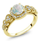 0.62 Ct Round Cabochon White Opal 18K Yellow Gold Plated Silver Ring