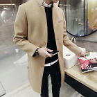 Men's 3 Button Stand Collar Slim Trench Coat Winter Casual Outwear Long Jacket