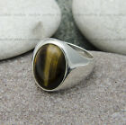 Plain Sterling Silver mens ring with Tiger`s eye stone. Nur Silver . Hand made