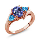 1.86 Ct Oval Purple Blue Mystic Topaz Swiss Blue Topaz 14K Rose Gold Ring