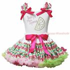 Valentine Daddy Main Squeeze White Top Rainbow Chevron Girl Skirt Outfit 1-8Year
