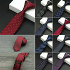 Slim Necktie Tie Men Wedding Classic Jacquard Woven Solid Plain Skinny Silk Hot