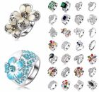 Fashion Women 925 Sterling Silver Engagement Ring Rhinestone Flower Jewelry Gift