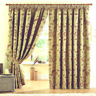 Thick GOLD TAPESTRY style CURTAINS Heavy Lined GOLD RED BEIGE 46 66 90 108 Pair