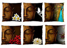 Image 2 Sides-Buddha Flowers/ Peacock Firm Feel CUSHION CASE /Cover PATIO DECOR