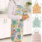 Home Kitchen Restaurant Cook Flower Waterproof PVC Apron Cooking Bib With Pocket