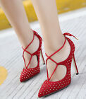 Womens Pointed Toe Pumps High Heels Faux Suede Stud Rivets Lace Up Party Shoes