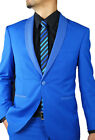 Blue Slim Fit Shawl Lapel Fancy Tuxedo Trim FUDQ386 | FASCINO UOMO 2PC 1 Button
