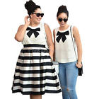 Women Round Neck Sleeveless Top and Pleated Stripes Midi Skirt Set Plus Size