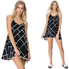 NEW Fashion Women Shift Chiffon Plaid Beach Sexy Party Cocktail Vest Mini Dress