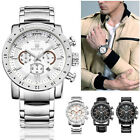 New Fashion Men's Business Stainless steel/Leather Band Quartz Wrist Watch