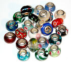 NEW 925 Stamped Sterling Silver Core Murano Glass Charm Bead Your Chocie LOT #4