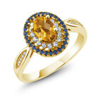 1.30 Ct Oval Checkerboard Yellow Citrine 18K Yellow Gold Plated Silver Ring