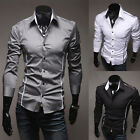 Charming Come Men Luxury Long Sleeve Casual Slim Fit Stylish Dress Shirts Black