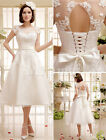 2016  New Ivory Beaded Lace Short Wedding Dress with scoop Neck and Sash