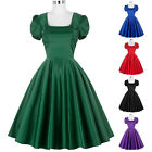 New Fashion Hollowed Back Puff Sleeve Housewife Dance Retro Vintage Party Dress