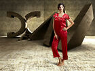 Free ship Red  long sleeve silk Blend Women Sleepwear Pajama Sets M/L/XL/2XL