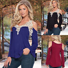 New Off-Shoulder Womens Fashion Long Sleeve Tops Casual Lace Blouse T Shirt Tee