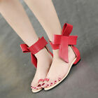 Womens Girls Sweet Flats Shoes Faux Leather Big Bow Low Heels Sandals Shoe US4-9