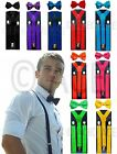 Mens 2 Piece Combo : Suspenders Braces Formal Womens Suspenders + Bow Tie Set