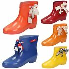 Womens Spot On Side Tie Ankle Wellington Boots / Synthetic / Slip On