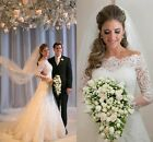 Vintage Long Sleeve Lace Wedding Dress White Ivory Bridal Gown Custom Size 2 4++