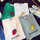 Women Summer Basic T-shirt Cute Fruit Print Short Sleeve Tee Blouse Tops  AB