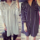 Fashion Women Casual Loose 7/10 Sleeve Black And white Stripes Long Shirt Dress