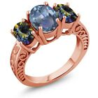 3.40 Ct Cassiopeia and Blue Mystic Topaz 18K Rose Gold Plated Silver Ring