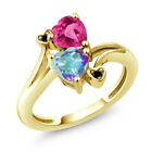 1.93 Ct Mercury Mist and Pink Mystic Topaz 18K Yellow Gold Plated Silver Ring