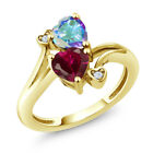 1.94 Ct Red Created Ruby and Mystic Topaz 18K Yellow Gold Plated Silver Ring