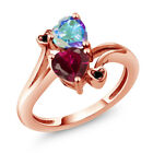 1.95 Ct Heart Shape Created Ruby & Mystic Topaz 18K Rose Gold Plated Silver Ring