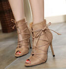 Womens Ladies Stiletto High Heels Peep Toe Ankle Boots Lace Up Court Party Shoes