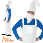Adult Blue Garden Gnome Costume Mens Smurf Fancy Dress Outfit New