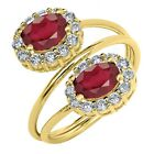 3.02 Ct Oval African Red Ruby 18K Yellow Gold Plated Silver Ring