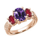 2.96 Ct Purple Amethyst African Red Ruby  RG Plated Silver  Ring