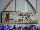 DOG WARNING SIGN BEWARE OF THE DOG GERMAN SHEPHERD OWN NAME SIGN OWN WORDING DOG