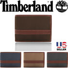 Mens Canvas Leather Wallet Timberland Delta Flip Up ID Passcase Bifold 2 ID +Box