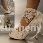 3 4  heel satin white ivory lace ribbon ankle open toe Wedding shoes size 5-9.5