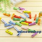 30-60pcs Mini Colorful Wooden Photo Paper Peg Decorate Craft Clips 4.5cm HOT