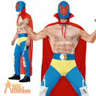 Adult Mexican Wrestler Costume Mens Smackdown Fighter Fancy Dress Outfit New