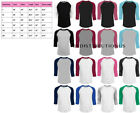 3/4 Sleeve Plain T-Shirt Baseball Tee Raglan Jersey Sports Men's Tee image