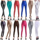 New Sexy Ladies High Waist Wet Look Faux Imitation Leather Leggings Pants XS-L
