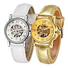 Womens Leather Gold/White Skeleton Women Automatic Mechanical Dress Watch Q8L8