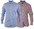 D555 Mens Gingham Check Long Sleeve Button Down Shirt Red Blue