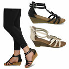 womens new wedge heel diamante open toe ladies strappy summer sandals shoes size